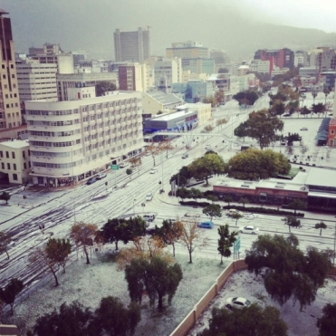 Hail in Cape Town CBD