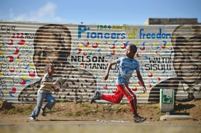 Soweto Mural of Nelson Mandela and Walter Sisulu